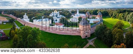 Aerial view of the oldest Russian Kremlin in the city of Velikiy Novgorod in Russia