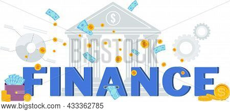 Finance Vector Flat Typography. Finance Word With Icons.