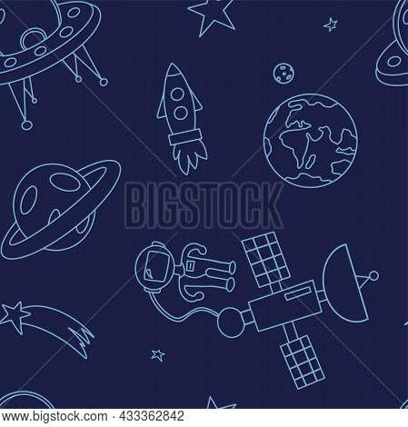 Space Seamless Pattern. Hand Draw Space Illustration With A Rocket, Astronaut, Planets And Aliens. C