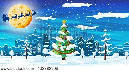 Christmas Card With Urban Landscape And Snowfall. Cityscape With Skyscraper Houses With Snow In Nigh