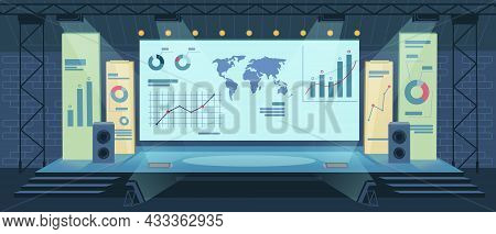 Interior Of Presentation Room, Screen With Charts And Graphs, Conference Hall And Presentation Room,
