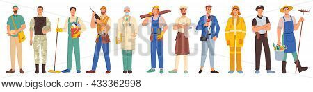 Workers Professions Isolated Flat Cartoon People Set. Vector Policeman, Firefighter, Builder And Coo