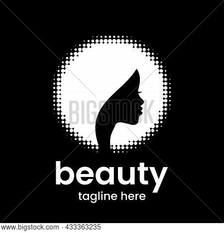 Beauty Emblem Template. Beautiful African American Woman With Curly Hair. Hair Salon Or Beauty Salon