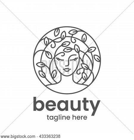 Organic Beauty Emblem Template. Hair Salon Or Beauty Salon Logo Design Template. Abstract Woman Face
