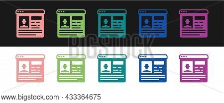 Set Resume Icon Isolated On Black And White Background. Cv Application. Searching Professional Staff