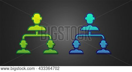 Green And Blue Business Hierarchy Organogram Chart Infographics Icon Isolated On Black Background. C