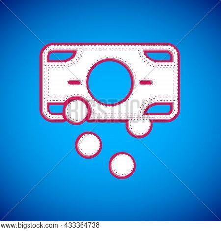 White Stacks Paper Money Cash Icon Isolated On Blue Background. Money Banknotes Stacks. Bill Currenc