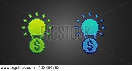 Green And Blue Light Bulb With Dollar Symbol Icon Isolated On Black Background. Money Making Ideas.