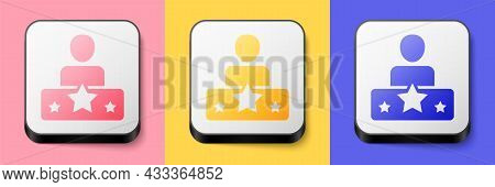Isometric Actor Star Icon Isolated On Pink, Yellow And Blue Background. Square Button. Vector