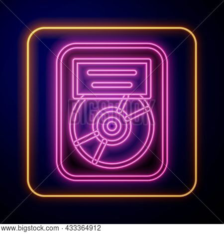 Glowing Neon Cd Disk Award In Frame Icon Isolated On Black Background. Modern Ceremony. Best Seller.