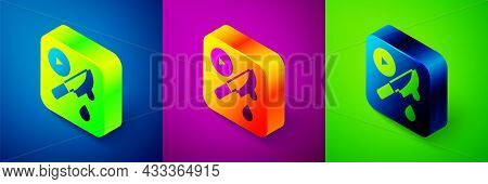 Isometric Thriller Movie Icon Isolated On Blue, Purple And Green Background. Bloody Knife. Suspensef