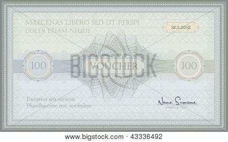 vector voucher green blue guilloche certificate template poster