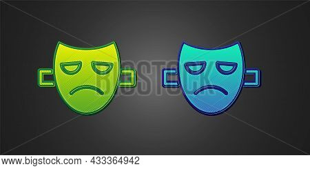Green And Blue Drama Theatrical Mask Icon Isolated On Black Background. Vector