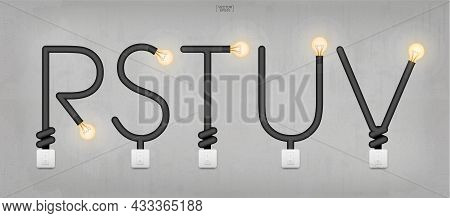 R,s,t,u,v - Set Of Loft Alphabet Letters. Abstract Alphabet Of Light Bulb And Light Switch On Concre
