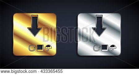 Gold And Silver Carton Cardboard Box Icon Isolated On Black Background. Box, Package, Parcel Sign. D