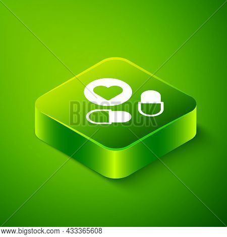 Isometric Medicine Pill Or Tablet Icon Isolated On Green Background. Capsule Pill And Drug Sign. Pha
