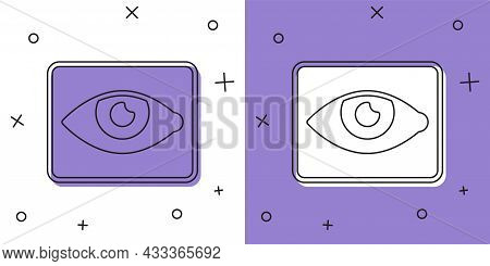 Set Red Eye Effect Icon Isolated On White And Purple Background. Eye Redness Sign. Inflammatory Dise