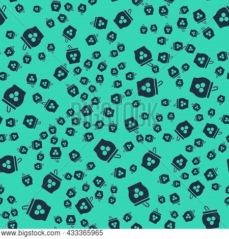Black Jar Of Honey And Honey Dipper Stick Icon Isolated Seamless Pattern On Green Background. Food B
