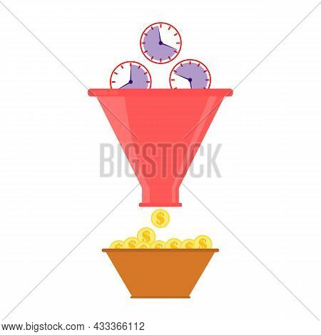 Sales Funnel Concept. A Clocks Falls Into A Funnel And Is Grind Into Many Dollar Sign Coins. Busines