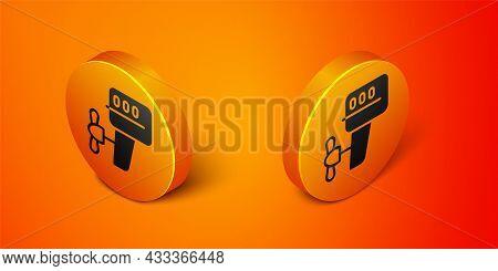 Isometric Outboard Boat Motor Icon Isolated On Orange Background. Boat Engine. Orange Circle Button.