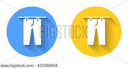 White Drying Clothes Icon Isolated With Long Shadow Background. Clean Pants. Wash Clothes On A Rope