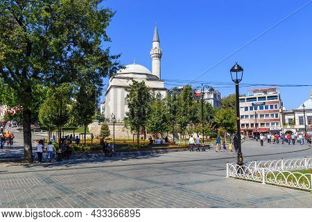 Istanbul, Turkey - September 13, 2017: This Is The Ottoman Firuz Aga Mosque Of The 15th Century In T