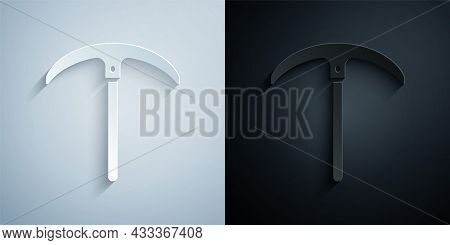 Paper Cut Pickaxe Icon Isolated On Grey And Black Background. Paper Art Style. Vector