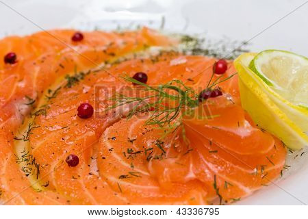 Salmon Carpaccio With Pink Pepper