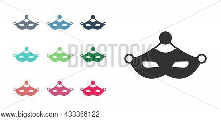 Black Carnival Mask Icon Isolated On White Background. Masquerade Party Mask. Set Icons Colorful. Ve
