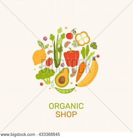 Organic Shop Banner With Vegetables, Berries, Fruits.natural Products-banana, Lemon, Cabbage, Celery