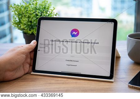 Alanya, Turkey - July 7, 2021: Man Hand Holding Ipad Air Space Gray With Social Networking Service M