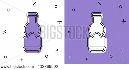 Set Sauce Bottle Icon Isolated On White And Purple Background. Ketchup, Mustard And Mayonnaise Bottl