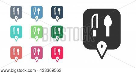 Black Cafe And Restaurant Location Icon Isolated On White Background. Knife And Spoon Eatery Sign In