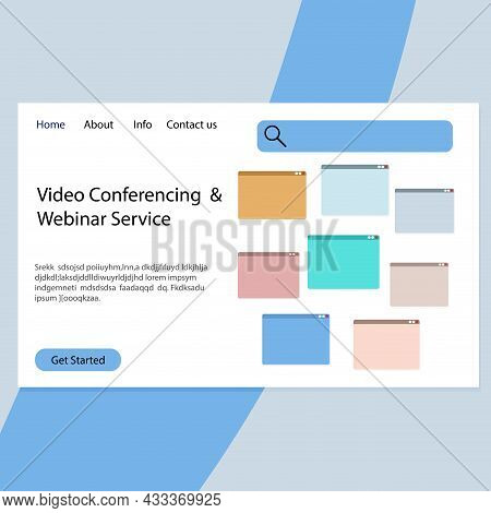 Video Conferencing And Webinar Service Landing Page. Application Interface For Communication Remotly