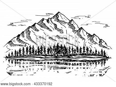 Wild Natural Landscape With Mountains, Lake, Pines, Rocks. Hand Drawn Vector Illustration. Mountains