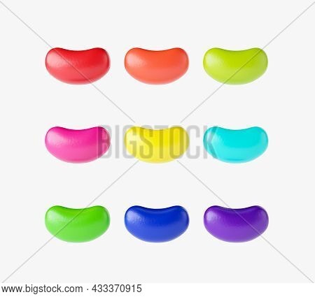 Round Colorful Jelly Beans Set. Realistic Illustration. Good For Packaging Design Jellybeans Isolate
