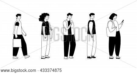 Adult People Customers Group In Casual Clothes Standing In Line Queue