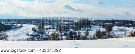 Ukrainian Snow-covered Villages, Panorama Of Winter And Evening Villages.