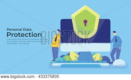 Personal Privacy Data Protection And Cyber Security Concept With Characters And Pc Background. Secur