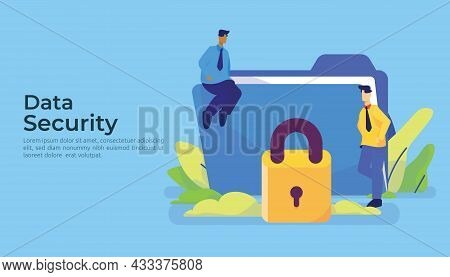 Personal Privacy Data Protection And Cyber Security Concept With Characters And Huge Giant File Fold