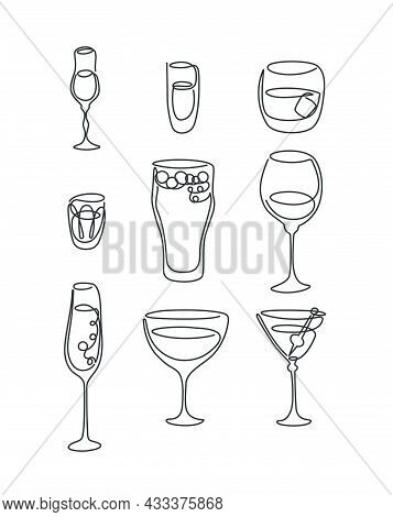 One Line Drawing Liquor Rum Whiskey Vodka Beer Red Wine Champagne Vermouth Martini Glass On White Ba