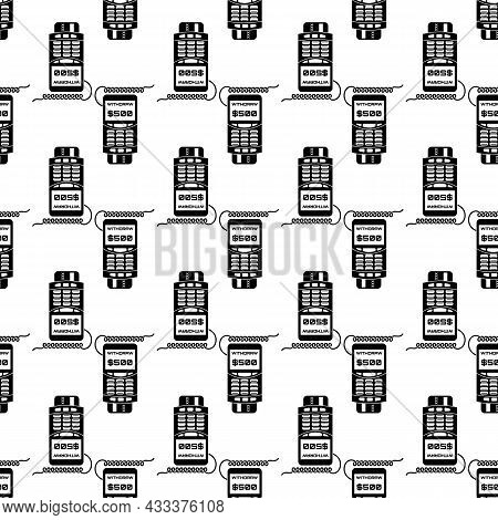 Credit Card Terminal Withdraw Pattern Seamless Background Texture Repeat Wallpaper Geometric Vector