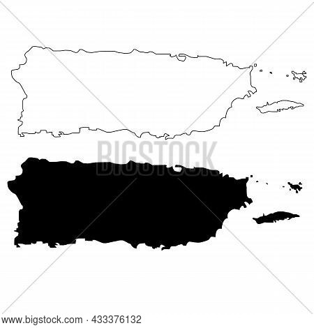 Puerto Rico Map On White Background. Puerto Rico State Sign. Puerto Rico State Of Usa Black Outline