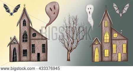 Spooky House, Haunted Mansion, Creepy Building At Day And At Night, Bat, Tree, Ghosts Home, Hallowen