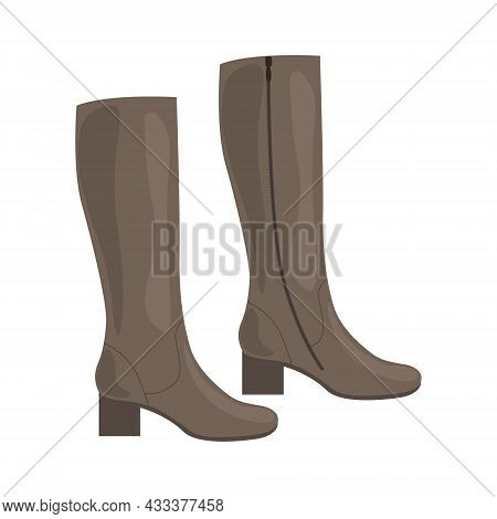 Fashionable Classic Women S Boots. Women S Shoes. High Leather Women S Boots With Heels. Vector Illu