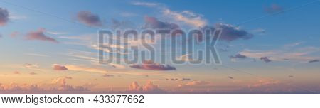 Beautiful Colored Cloudy Evening Sky.  Abstract Sky Background.