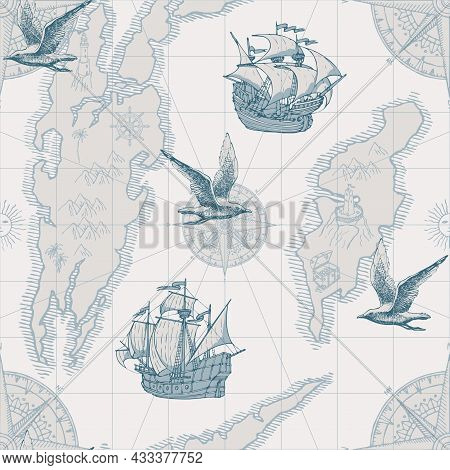 Hand-drawn Seamless Pattern In Form Of Old Map With Islands, Pirate Frigates, Vintage Sailing Yachts