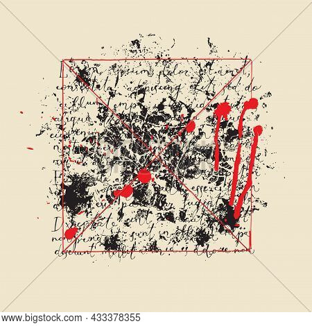 Abstract Vector Banner With Handwritten Text Lorem Ipsum And Black And Red Spots On An Old Paper Bac