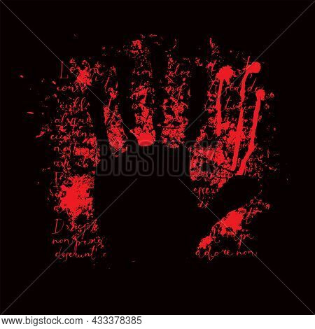 Vector Banner With A Hand Print, Abstract Red Spots And Handwritten Text Lorem Ipsum On A Black Back