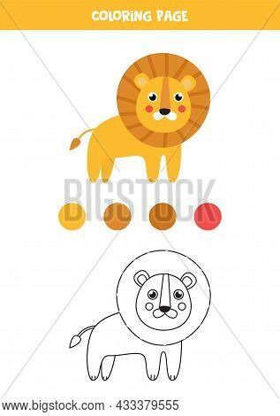 Coloring Page With Cute Cartoon Lion. Worksheet For Children.